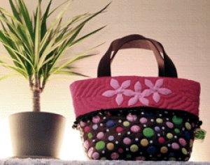 画像1: ピンクリボンのコロコロ・ミニトートバッグ